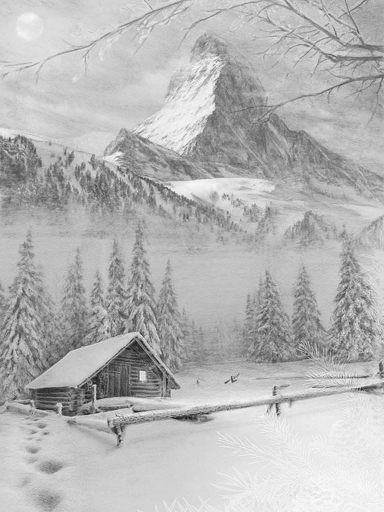 matterhorn swiss winter cabin pencil drawing art