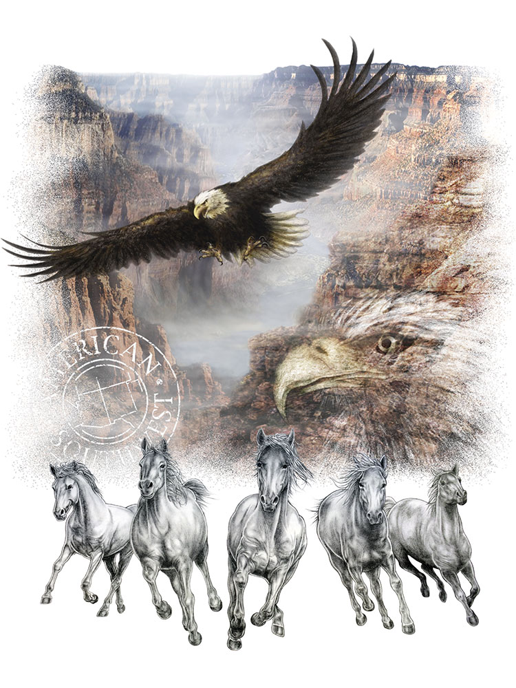 wildlife nature eagle horse grand-canyon pencil illustration design