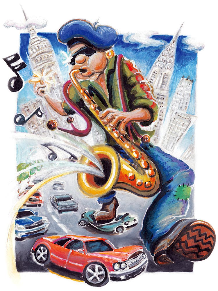 saxophone player comic cartoon childrens book illustration paint